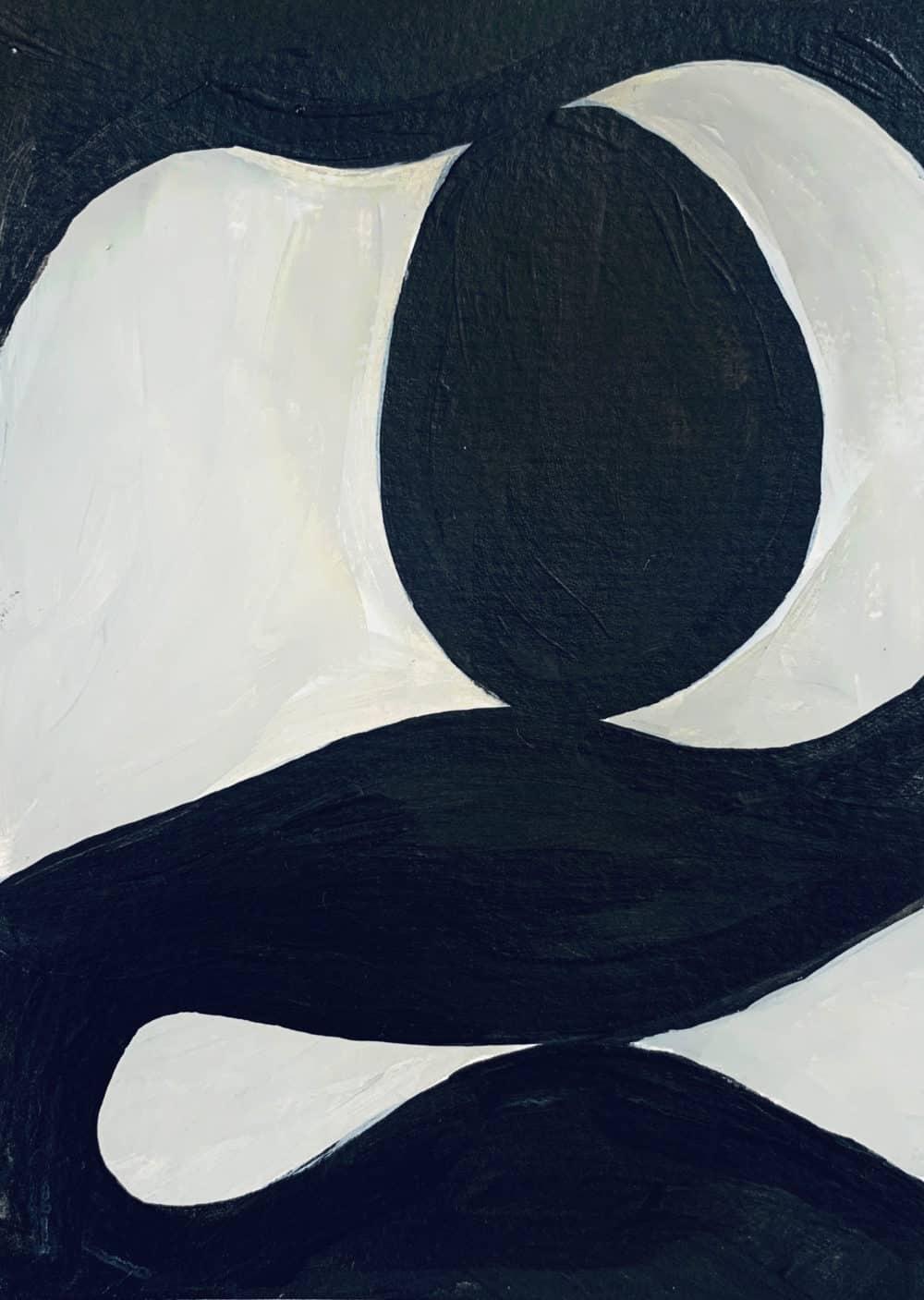 Ölgemälde auf Leinwand minimalistische Form Schwarz Weiß