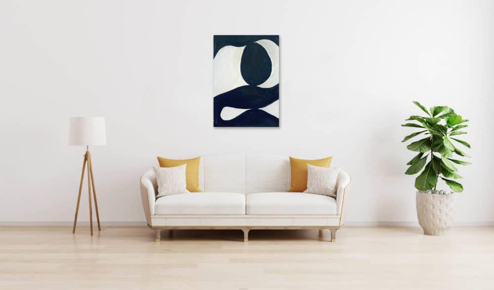 Ölgemälde auf Leinwand minimalistische Form Schwarz Weiß wandbild
