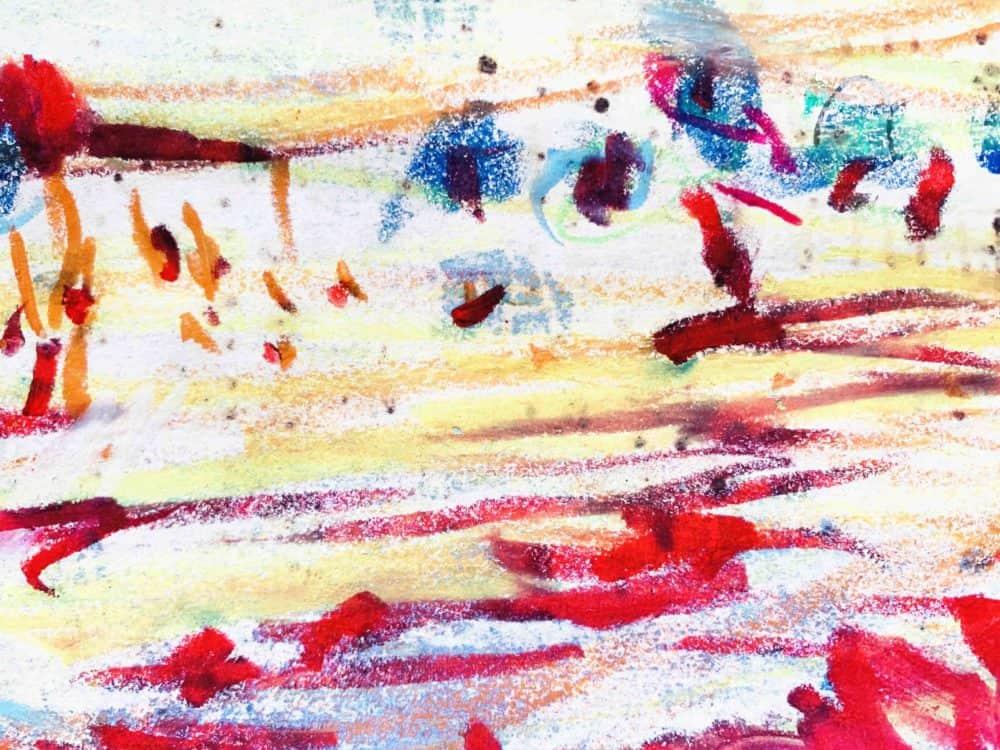 Ölgemälde auf Leinwand rote Spurensuche