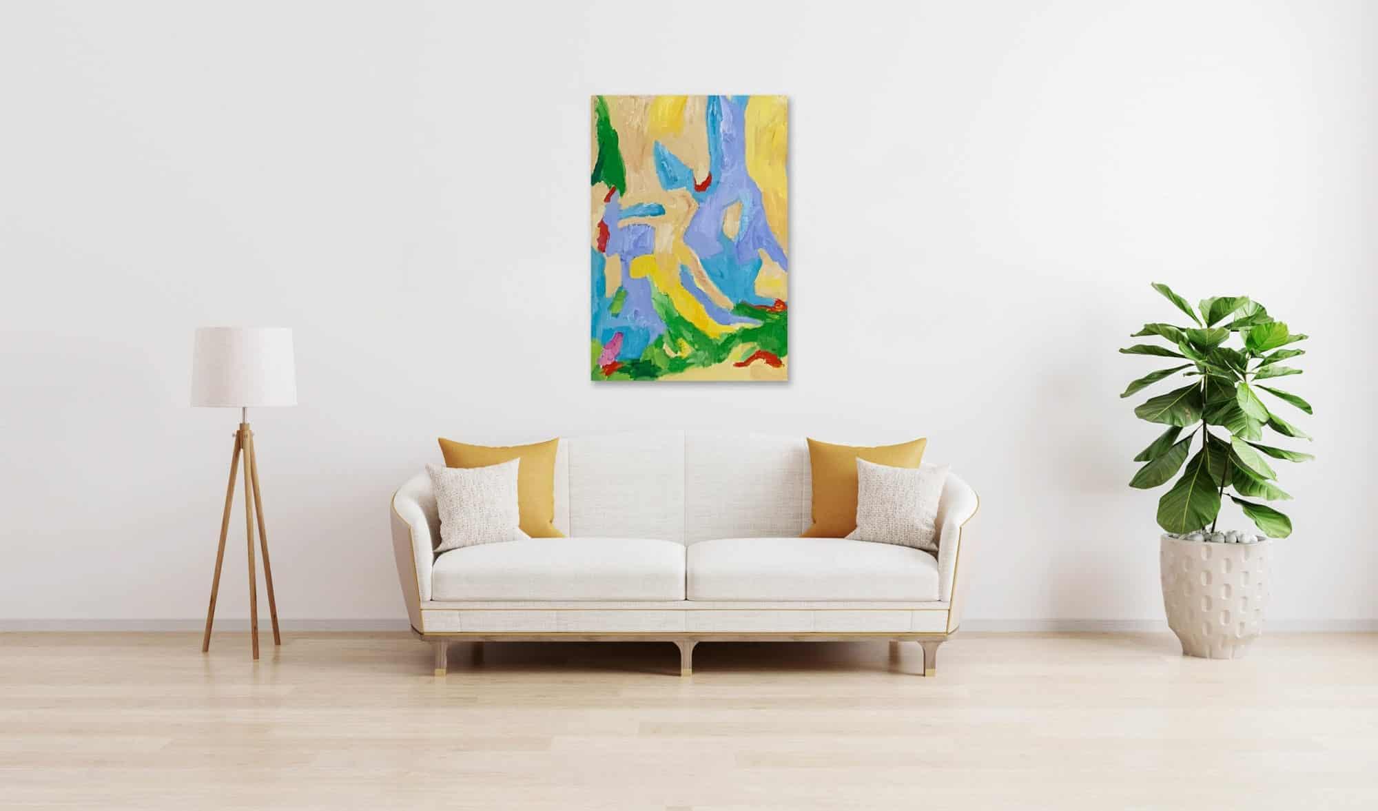 Ölgemälde auf Leinwand wandbild Abstraktion mit Blau und Ocker