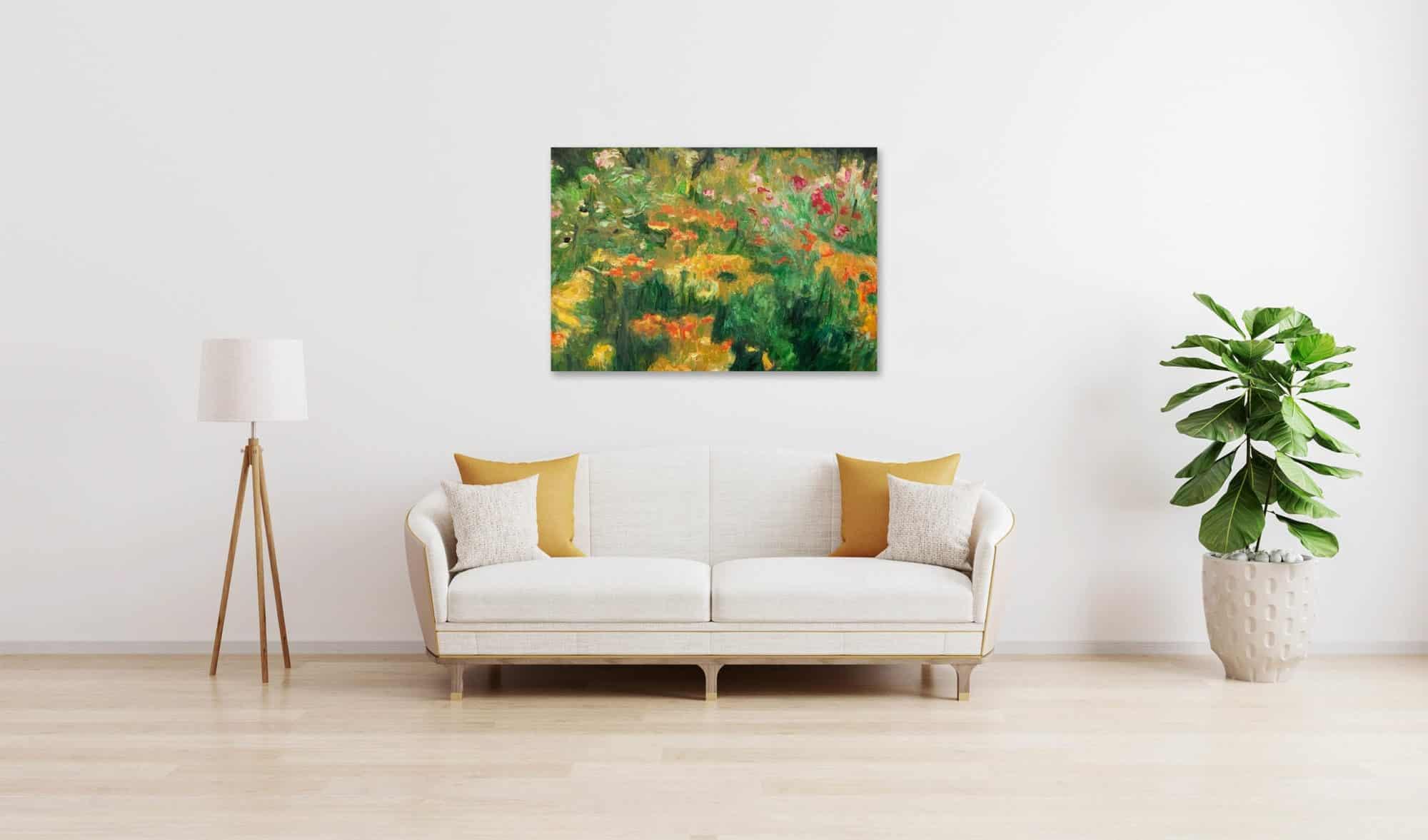 Ölgemälde auf Leinwand wandbild Blumen und Wiese