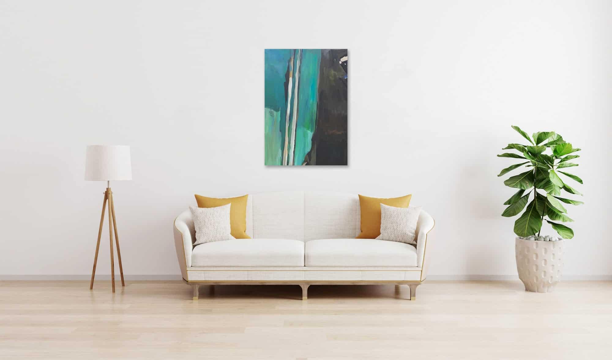 Ölgemälde auf Leinwand wandbild blau braune Abstraktion