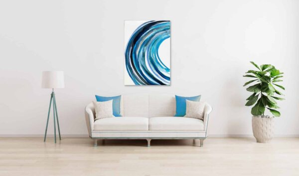 ögemälde auf leinwand wandbild blaue runde form