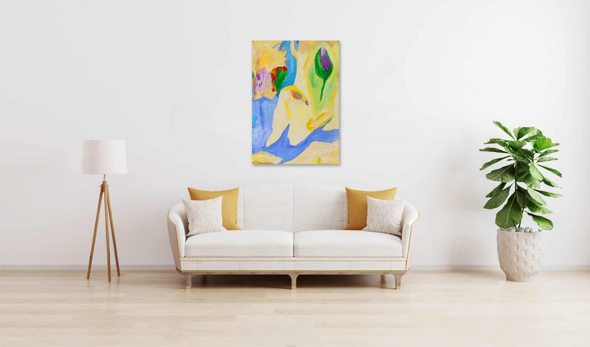 Ölgemälde auf Leinwand wandbild fließende Absraktion mit Blume