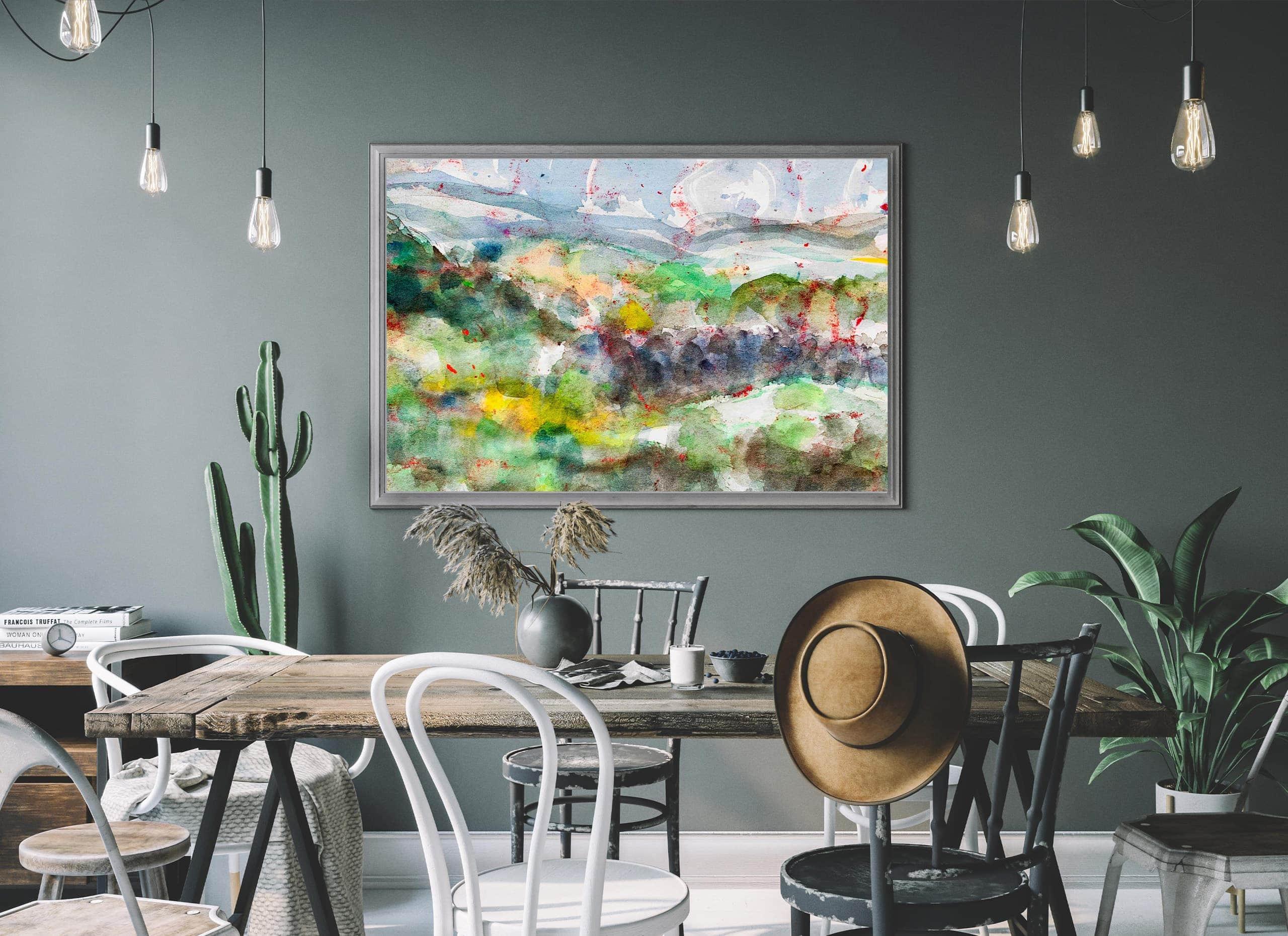 abstrakte malerei landschaft wandbild
