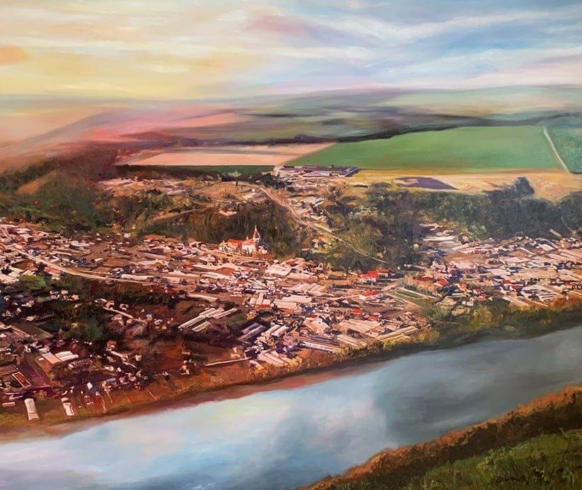 landschaftsmalerei bilder stadt am fluss