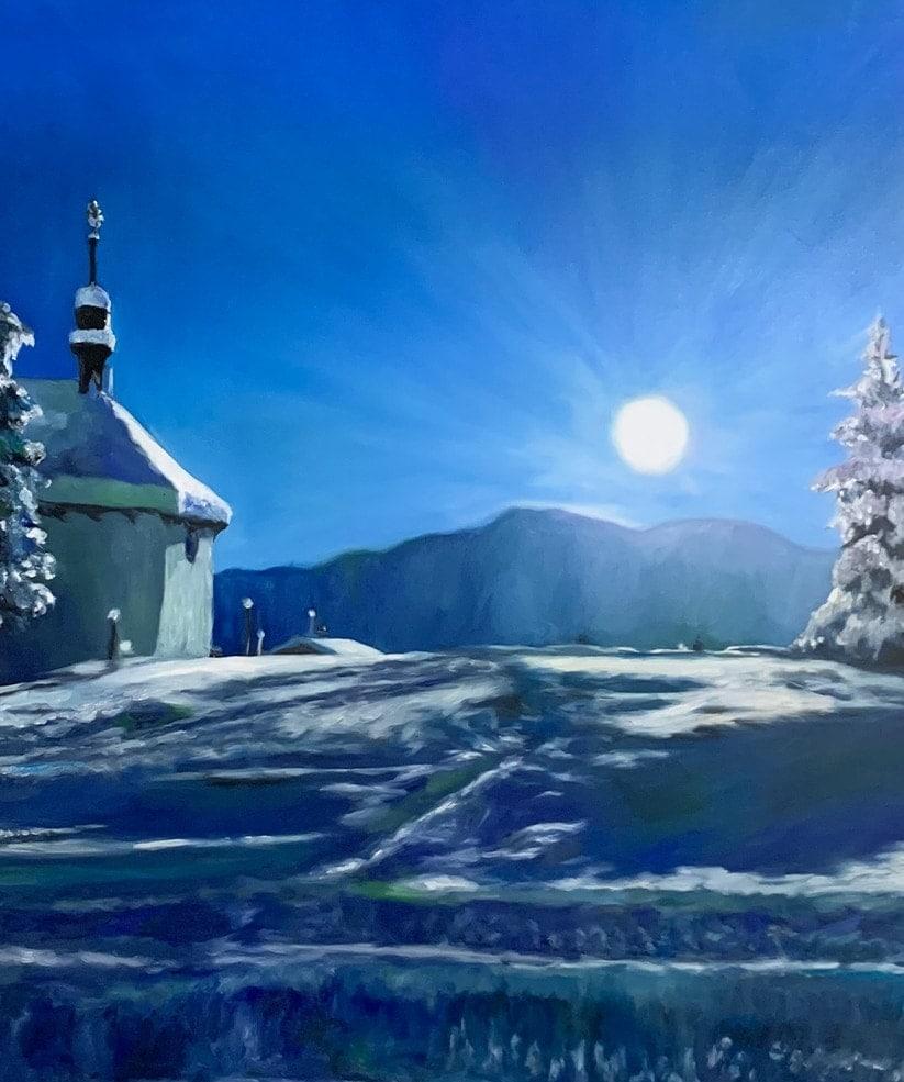 landschaftsmalerei bilder winter berge