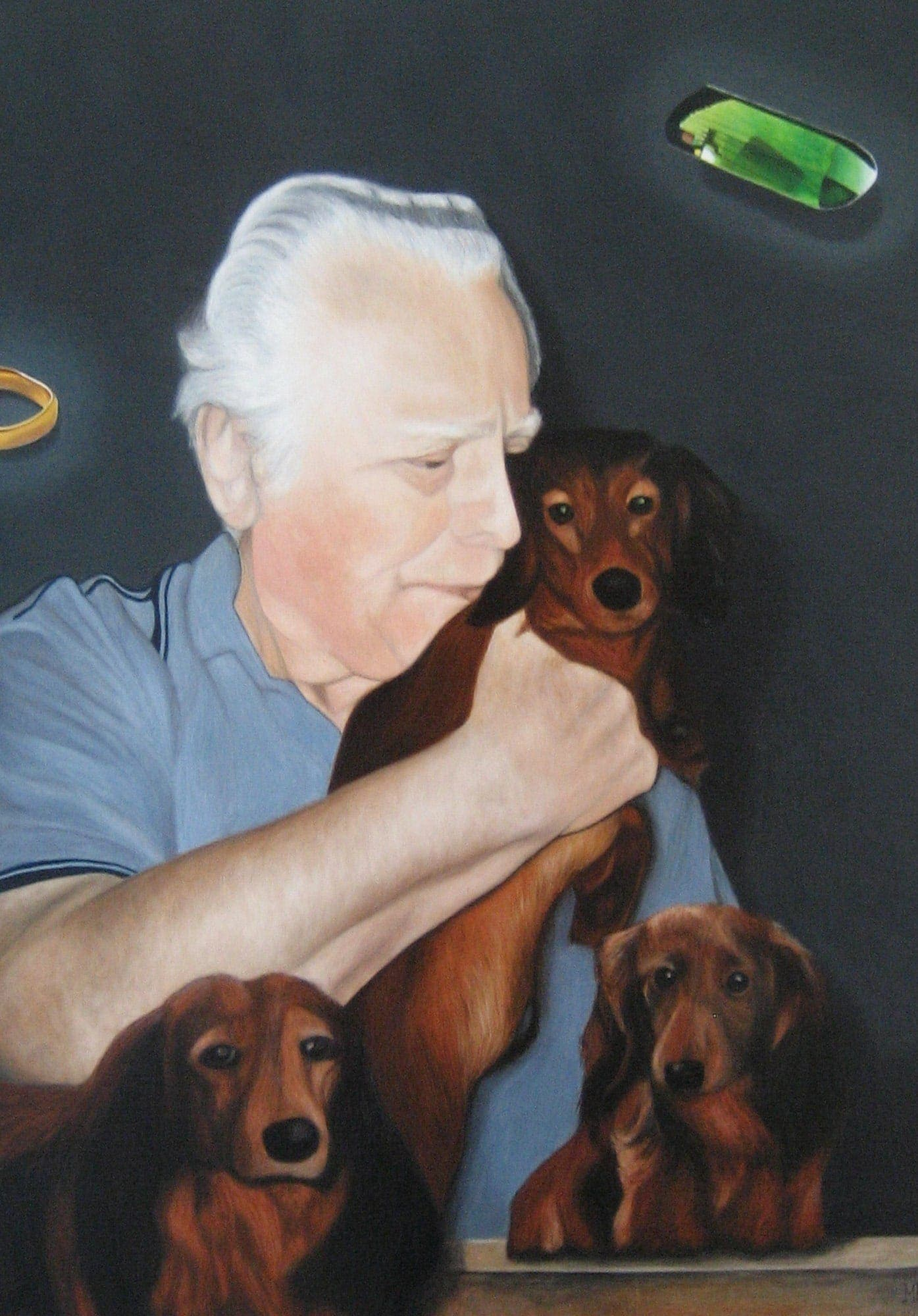 portrait painting old man with dogs