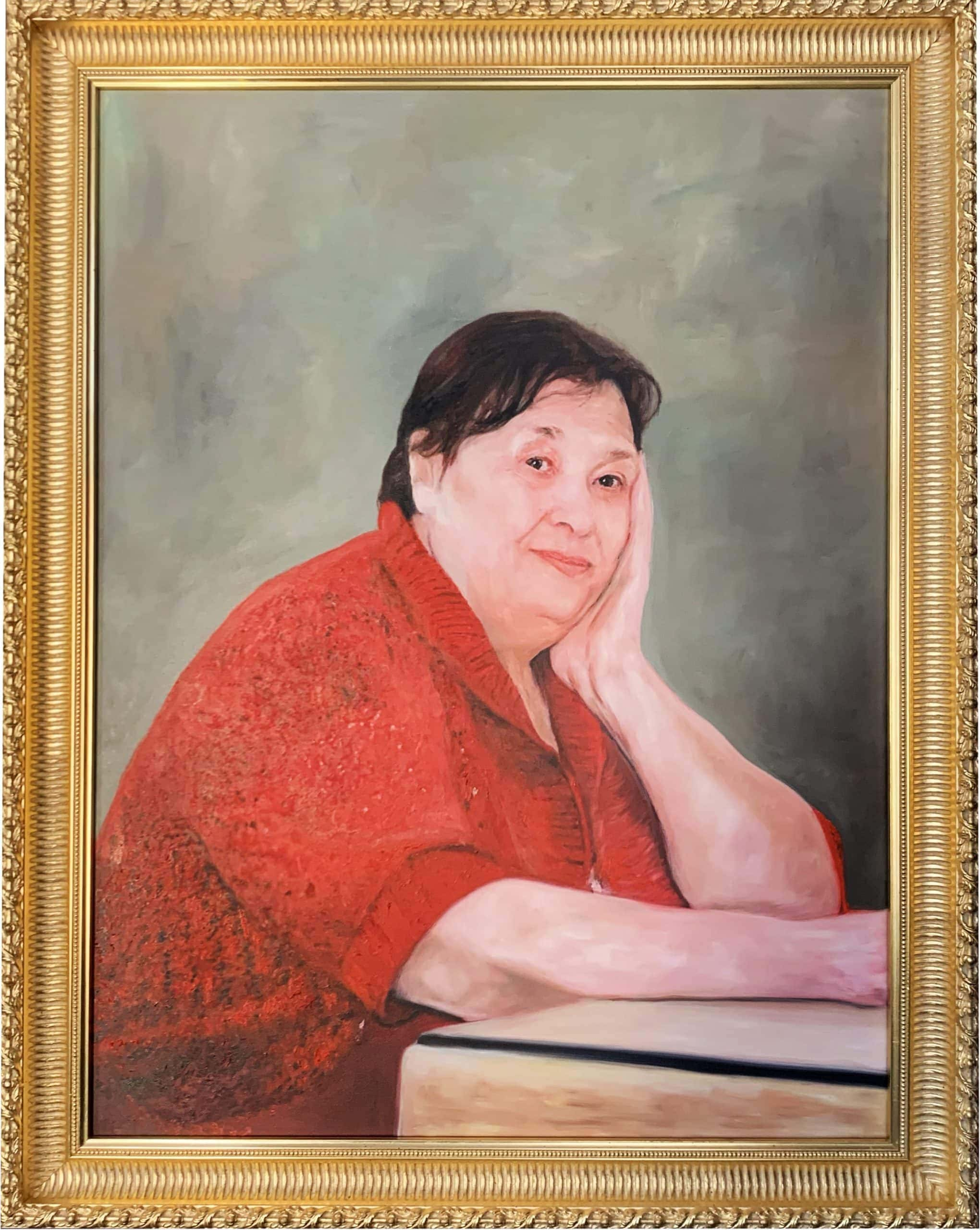portrait painting old woman frame gold