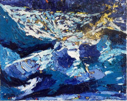 Ölgemälde Blau mit Gold 50x40 cm