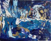 Ölgemälde Feld mit Gold und Blau 40x50 cm