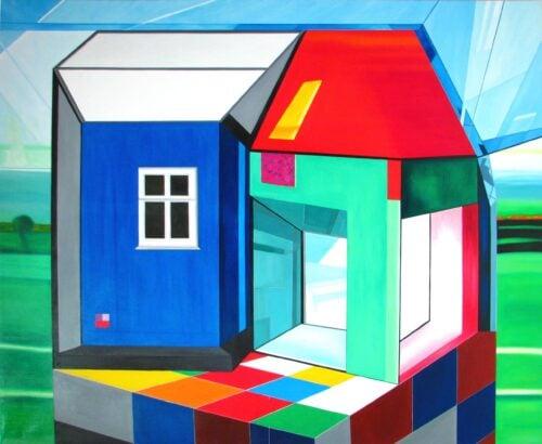 Ölgemälde Glashaus 173 x 143 cm