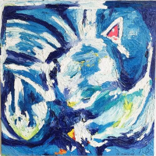 Ölgemälde Im Blau 60x60 cm