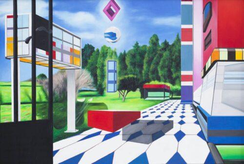 Ölgemälde Im Hof 120 x 80 cm