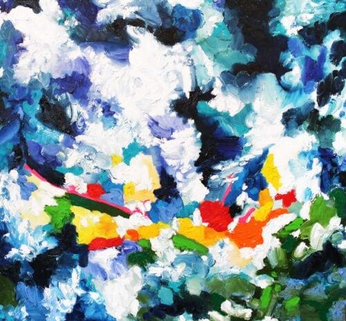 Ölgemälde Wolken und Feld 70 x 70 cm